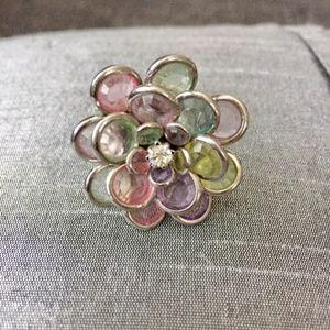 Anthropologie  Silver flower glam ring